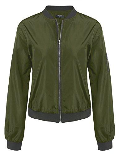 Zeagoo Damen Herbst Winter Steppmantel Bomberjacke Daunenjacke mit Futter Bikerjacke Kurz Jacke, Gr-EU 34 (Herstellergröße: S), ,A-Grün