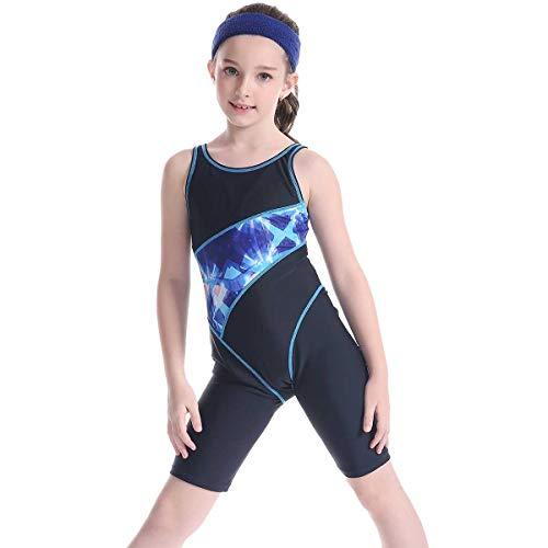YQXR Freizeit Bademode Neue 2019 Mädchen Einteiler Badebekleidung Drucken Kurze Hosen Swim Racing Anzug (Color : 2, Size : 12-14T)