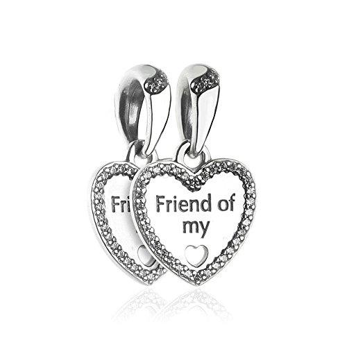 Funshopp - ciondoli/charm, cuori dell'amicizia, autunnali, fai da te, adatti per braccialetti pandora originali, in argento 925