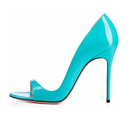 EDEFS- Escarpins Femme - Chaussures à talons aiguilles - Sexy Bout Ouvert - Cuir Brillant Synthétique - Plusieurs coloris Bleu