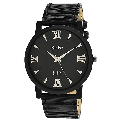 RELISH RE-S8012BB SLIM Black Dial Analog Watch For Mens & Boys