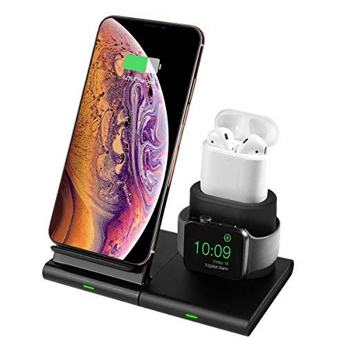 Hoidokly 3 en 1 Chargeur sans Fil pour iPhone et iWatch 10W Chargeur à Induction Rapide Détachable pour Apple Watch Series 5/4/3/2/1, iPhone 11/11 Pro/11 Pro Max/XS/XS Max/XR/X/8 Plus/8 et AirPods 2