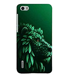 Tiger Made By leaves, Black, Green Pattern, Amazing Pattern, Printed Designer Back Case Cover for Huawei Honor 6