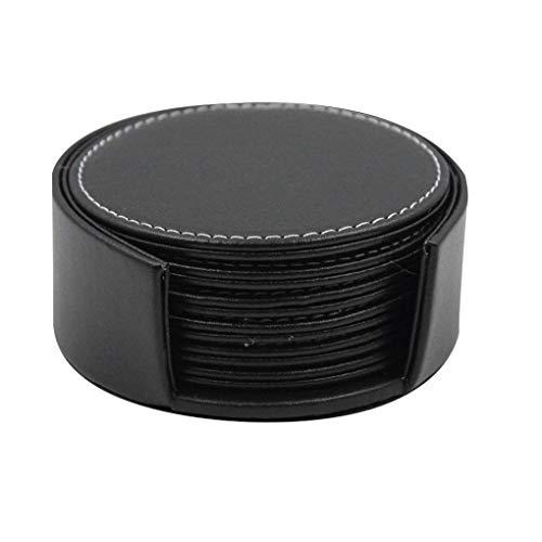 Kakiyi Schwarz Braun PU-Leder-Coaster Round Insulated Platzdeckchen Hitzebeständige Kaffeetasse Mat Heim Clud Supplies
