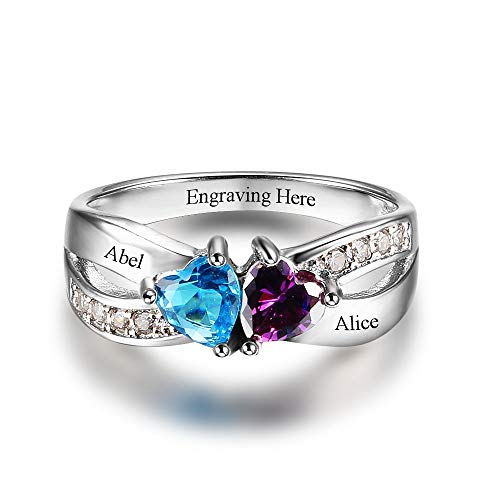 a9c7bbb6952 ZHOUYF Anello Ring Promise Rings Personalized Jewelry Engrave Name Custom  Birthstone Ring 925 Sterling Silver Rings for Women,8#