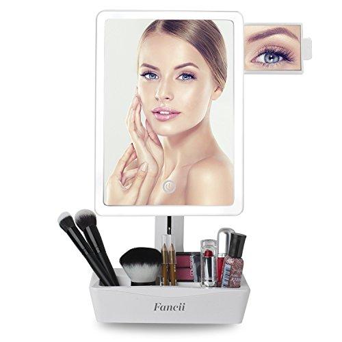 Espejo de Tocador con Luz LED y Pequeño Espejo Magnificador 10x Para Maquillaje de Fancii - Soporte de Sobremesa Ajustable, Pantalla Táctil, Luz Natural, USB y Pilas con Organizador de Cosméticos