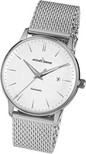 Jacques Lemans Unisex-Armbanduhr Nostalgie Analog Automatik Edelstahl N-206C