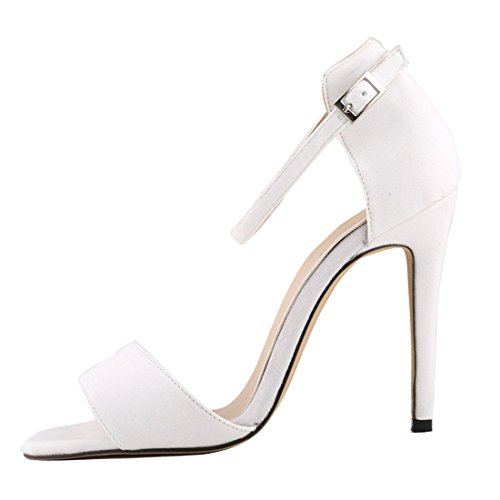 Azbro Stunning Solid Open Toe Ankle Straps Stiletto High Heels White