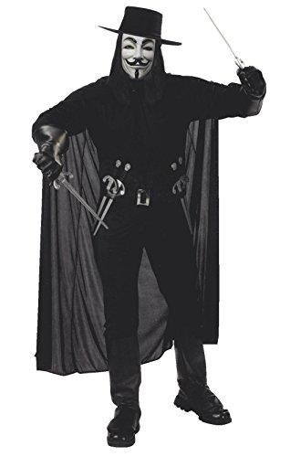 V Kostüm Vendetta - Close Up V for Vendetta Kostüm für Erwachsene (Hemd, Hose mit Stiefelgamaschen, Hut, Maske & Gürtel mit 4 Dolchen)
