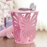 Top Home Solutions® Kinder Holz Schmetterling Runde Seite End Lampe Tisch Kids Mädchen Schlafzimmer Rose