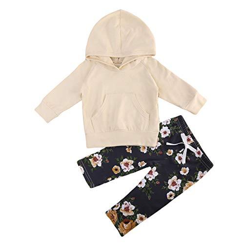 PDYLZWZY Baby Kleidung Mädchen Junger Kleinkind Langarm Hoodie Oberseiten Hosen Outfits Set 2pcs Baby Kleidung Set Mädchen Kleidung Outfits Baumwolle 6-24 Monate (B, 70) Baby-kleidung Outfit