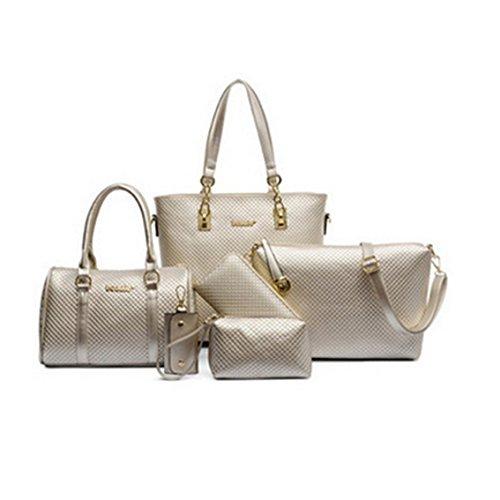 Yesiidor Umhängetasche Taschen Groß Elegant Umhänge Shopper 6-Teilig Handtasche in 3 Farben Gold