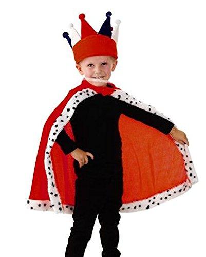 Kinder Kostüm Umhang Cape Kleiner König 4-8 Jahre (ohne Krone) Fasching Karneval Fastnacht