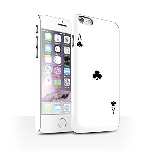 STUFF4 Matte Snap-On Hülle / Case für Apple iPhone 8 Plus / Herz-Ass Muster / Kartenspielen Kollektion Kreuz-Ass