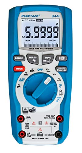 PeakTech 3441 - True RMS Digital Multimeter für Elektriker mit 60000 Counts, Profi-Handmultimeter für elektrische Leitungen, TÜV/GS, Spannungsmesser, Durchgangsprüfer, Messgerät - CAT III 1000V