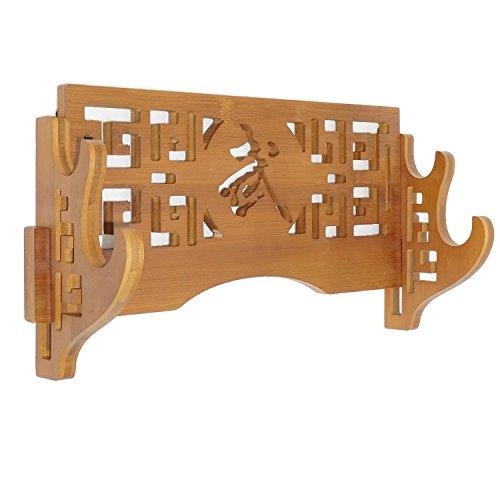 Katana-und Wakizashi-Schwert-Halterung aus Bambus, Samurai, Wandhalterung, 2 Tier-Classic Engraved