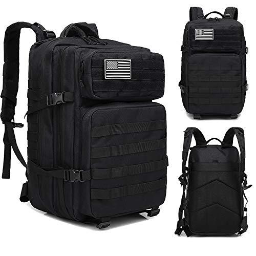 WULIHONG-backpackArmy Tactical Backpack 45L Molle Military Borse Assault Outdoor Zaini da Caccia Escursionismo Campeggio Impermeabile Zaini da ViaggioNero