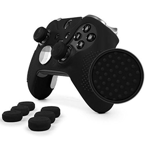 Foamy Lizard ElitePro Grip Nieten Skin Set für Xbox One Elite Controller, schweißfreie Silikonhülle mit erhöhten Anti-Rutsch-Noppen Plus 8 Stück QSX-Elite Daumengriffe Skin + QSX-E Grips schwarz -