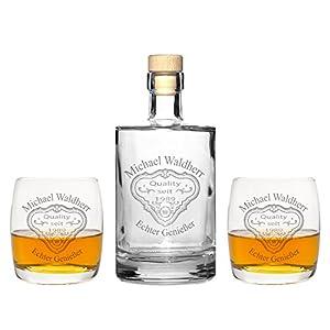 FORYOU24 2 Edle Whiskeygläser mit Whiskeykaraffe und Gravur Patch II Whisky-Set graviert