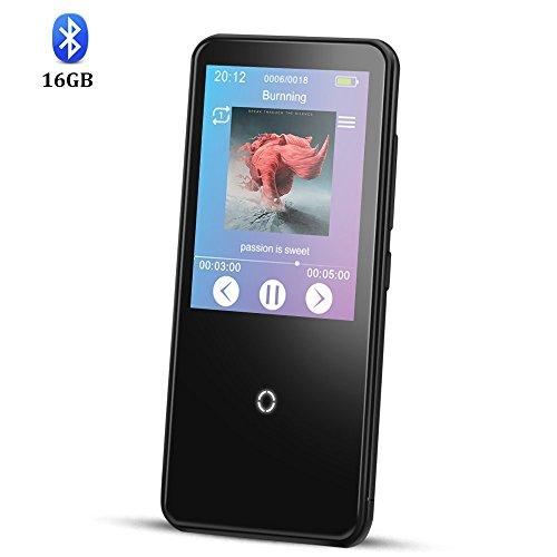 Bluetooth 4.0 16GB MP3 Player mit 2,4 Zoll TFT Berührungsbildschirm, verlustfreie Musik Player unterstützt FM-Radio, Aufnahmen, von AGPTEK C10, Schwarz