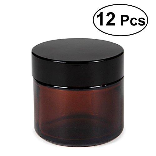 Pots en verre ronds Frcolor vide conteneurs cosmétiques avec doublures intérieures, 12pcs