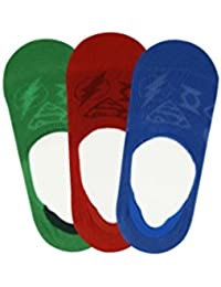 Justice League Kids No Show Socks- Blue, Red, Green- Pack of 3