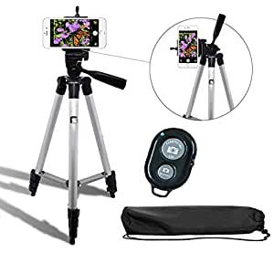 Syvo Adjustable Aluminium Alloy Tripod Stand Holder for Mobile Phones & Camera, 360 mm -1050 mm, 1/4 inch Screw + Mobile Holder Bracket & Shutter Remote Controller