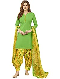 Kanchnar Women's Green Color Cotton Satin Solid Unstitched Dress Material-752D21008