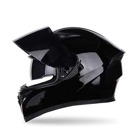 ZXW Motorrad Lokomotive Helm Männer Und Frauen Vier Jahreszeiten Universal Schwarzer Tee Anti-fog Doppel Objektiv Helm (Farbe : J, größe : L) - Abenteuer Motorrad-helm