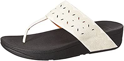 FitFlop Women's BAHIA Urban White Leather Fashion Sandals - 6 UK/India (39 EU)