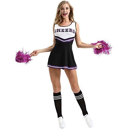 Dawwoti Mädchen Halloween-Kostüme Cheerleading Uniform Cheer Pompoms für - Cheer Kostüm Tragen