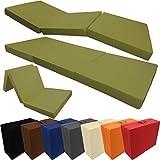 PROHEIM Klappmatratze Comfort 195 x 80 x 10 cm Komfortable Faltmatratze Gästematratze mit Microfaserbezug Bequemes Notbett/Gästebett, Farbe:Army