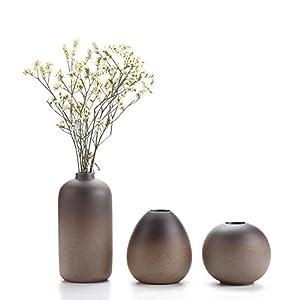 T4U Keramik Blumenvasen Klein für Einzelblüten, Japanischer Stil Dekovasen 3er-Set