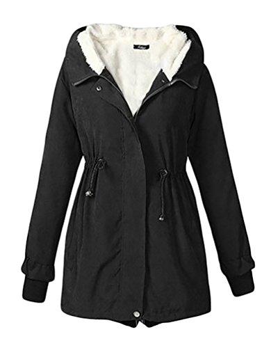 Cerui donna inverno spessore caldo cappotto con cappuccio xl nero