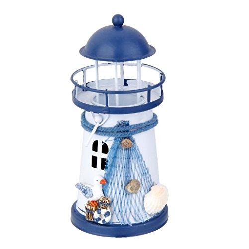 Homyl Metall Leuchtturm Strandlicht mit LED Beleuchtun, Kerzenhalter Seedekor Nautische Dekoration für Wohnzimmer (Nautische Dekoration Für Wohnzimmer)