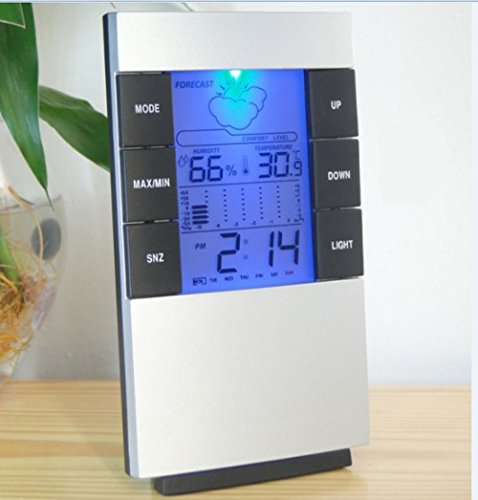 E Support™ LED Innen digitales Thermo-Hygrometer Wetterstationen mit Funkuhr Innen Außentemperaturanzeige