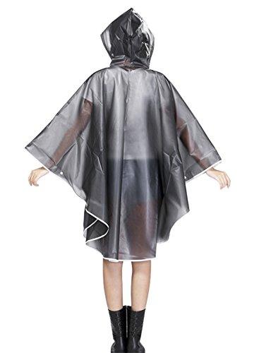 Poncho Pluie Vélo Femme Moto Pocho Femme avec Capuche Pocho Femme Grande Taille Ponchos de Pluie/Imperméable à Capuche pour Enfant Veste Manteau Couverture Pluie Coupe-pluie PVC gris