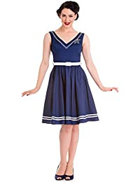 Hell Bunny ARIEL Rope ANCHOR Anker Sailor V-Neck Retro KLEID Rockabilly