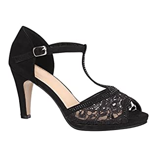 Elara Damen Pumps Peep-Toe   Moderne High Heels   Bequeme Riemchen Stilettos   Chunkyrayan 8001-Black-40