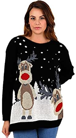 Red Olives® Womens Ladies Christmas Jumper Double Twin Rudolph Novelty Xmas Sweater Top UK 8-26 (12/14, Black)