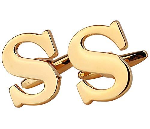 Blisfille Manschettenknöpfe Personalisiert Herren Titanstahl Edelstahl Französische Manschettenknöpfe Capital Initial Alphabet Buchstaben S Gold