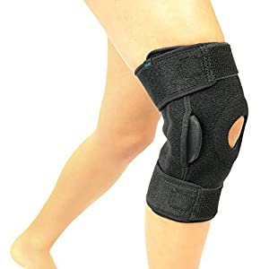 Vive Hinged Knee Brace - Adjustable Open Patella Support for Swollen ACL, Tendon, Ligament and Meniscus Injuries - Athletic Compression Wrap for Running, Wrestling, Arthritic Joint (Single, Black)