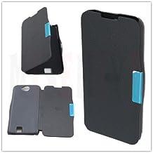 L5 PCMOVILES -- Negro Funda de Piel para movil tipo libro de apertura lateral con iman para ZTE Blade Q Maxi