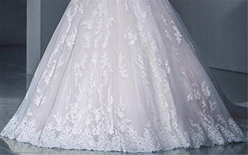 He-shop Hochzeitskleid, Brautkleid Braut Lange Ärmel Eine Schulter Spitze Schleppend Schlank Blumenstickerei Europa Und Amerika Große Größe Party Abend - 5