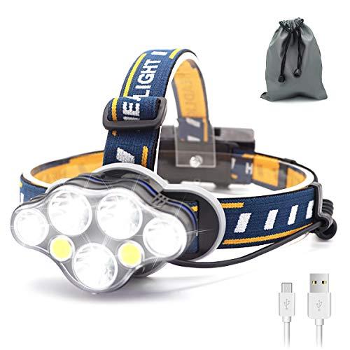 SYOSIN LED Stirnlampe USB Wiederaufladbar Kopflampe,Superheller,Wasserdicht Leichtgewichts Mini Kopfleuchte für Camping,Fischen,Keller,Laufen,Joggen,Wandern,Lesen,Arbeiten (Stirnlampe2)