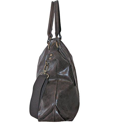 BORDERLINE - 100% Made in Italy - Borsa da Donna in Vera Pelle - Stile Vintage - - LISA Testa di Moro