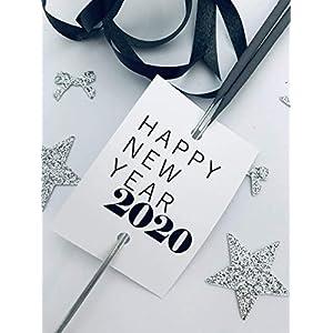 Happy New Year 2020 ab 10 Stück Glücksbringer Wunderkerze-Sternensprüher Wunderkerzenhalter Wunderkerzen Happy New Year Frohes neues Jahr