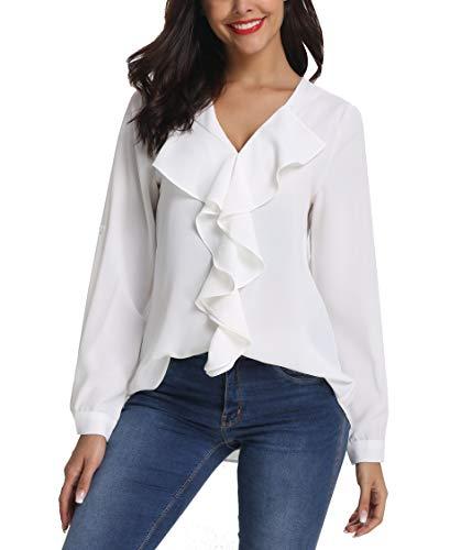 SIRUITON Frauen V-Ausschnitt gekräuselt Shirt Damen Casual Hemden Tops Langarm Bluse, Weiß - XS -