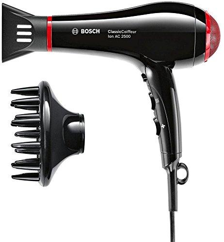 Bosch PHD7962DI - Secador de pelo profesional, 2500 W, generador de iones, color negro y rojo