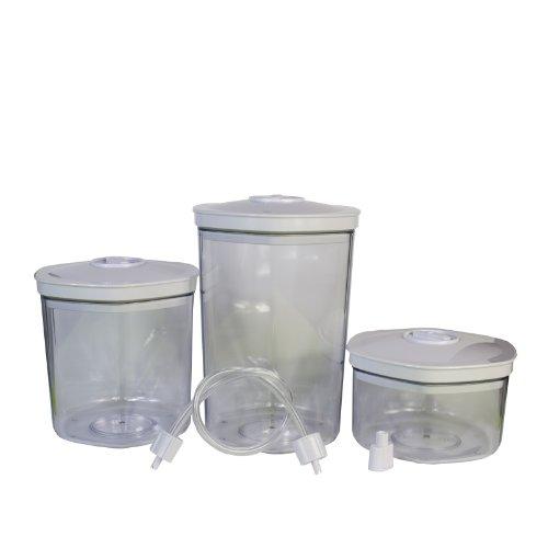 Lacor 69051- Set 3 barattoli sottovuoto in casa 0.7-1.4-2 litri